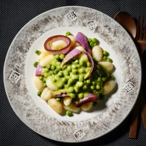 Seared gnocchi with miso peas