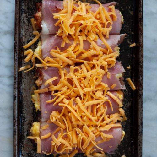 Salsa, Ham, Egg and Cheese Roll-ups