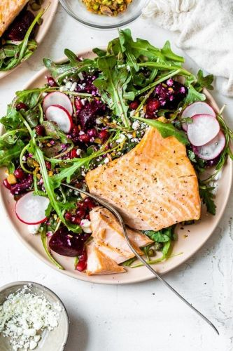Salmon Salad with Beets, Arugula, Pistachios and Pomegranates
