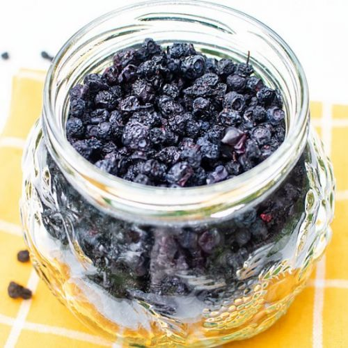 Homemade dehydrated blueberries to