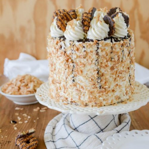 Toasted Coconut Caramel Layer Cake