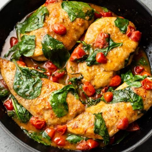 Tomato spinach white wine chicken