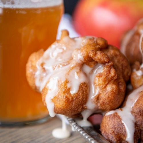 Beer Apple Fritters with Vanilla Glaze
