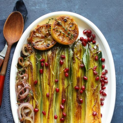 Braised leeks with thyme butter