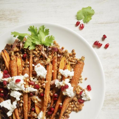 Roasted Carrots and Lentil Salad