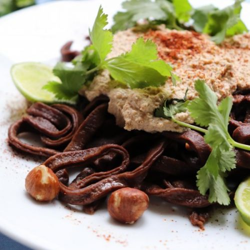Savory Chocolate Pasta with Sauce