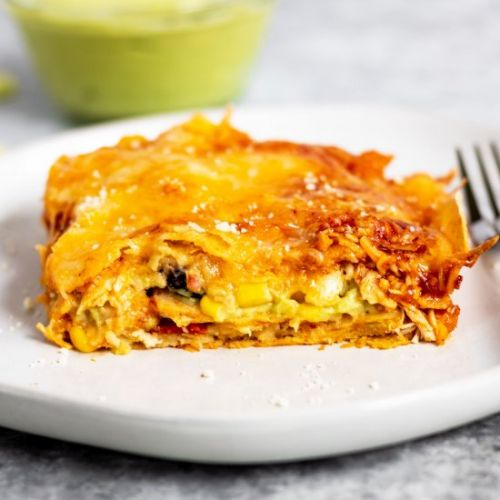 Enchilada Lasagna with Avocado Cream