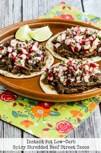 Instant Pot Low-Carb Spicy Shredded Beef Street Tacos
