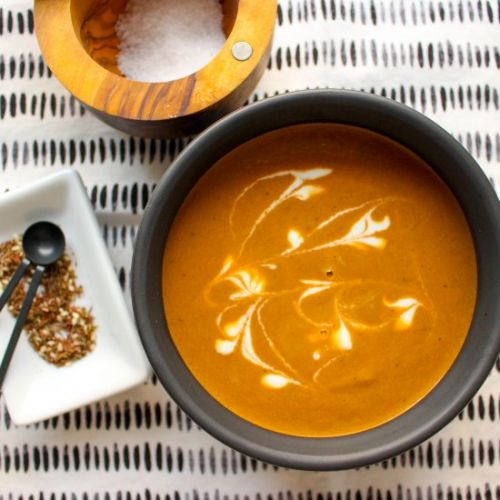 Purple carrot soup with za'atar