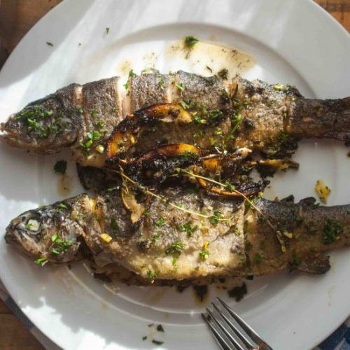 Rainbow Trout with garlic herb