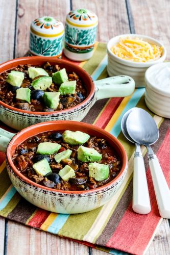 Beef Chili with Sausage, Mushrooms, and Olives