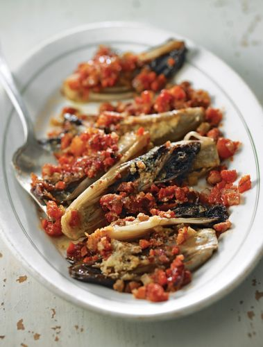 Baked Red Endive with Tomatoes and Pancetta