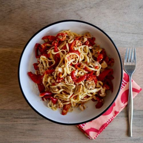 Spaghetti with Capsicum and Tuna