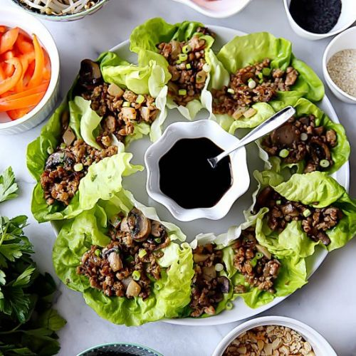 Chicken Lettuce Wrap with Mushrooms