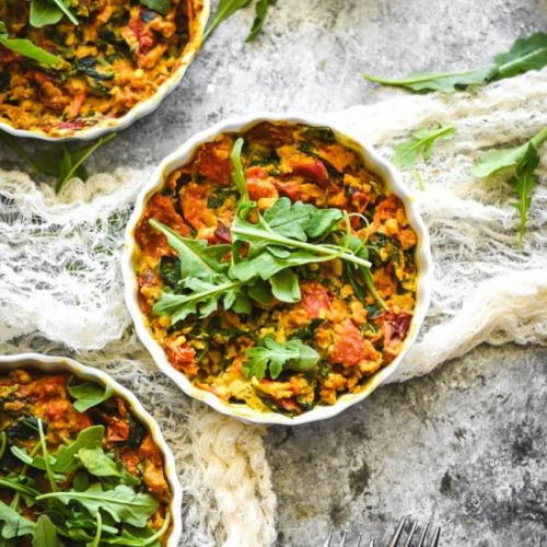Roasted Red Pepper Chickpea Quiche