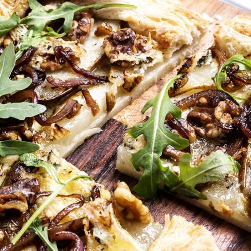 Pear and walnut puff pastry tart