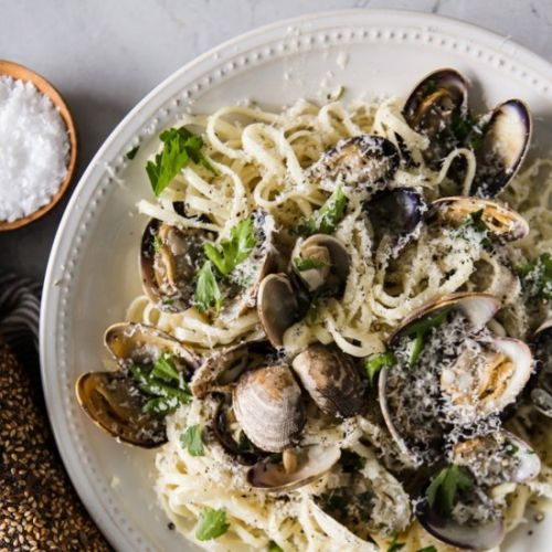 Champagne and Cream Clam Linguini