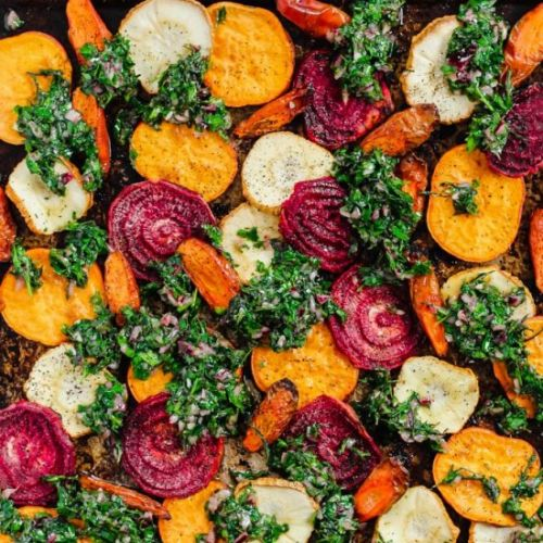 Veggies with Carrot Top Chimichurri