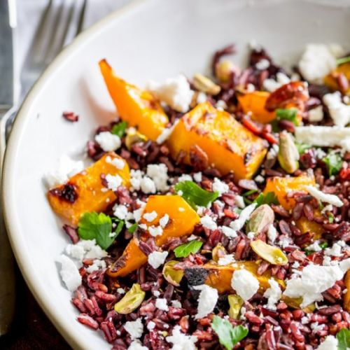 Maple Roast Pumpkin with Black Rice