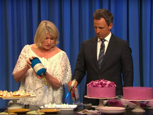 Watch Martha Stewart Teach Seth Meyers Fancy Pastry Techniques On 'Late Night'