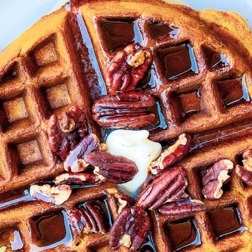 Sweet & Spicy Roasted Pecan Waffles
