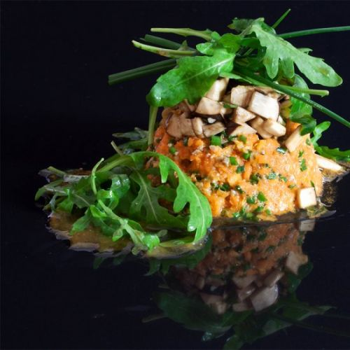 Raw Pumpkin Tartare with mushrooms