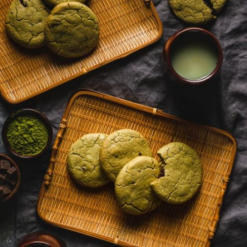 Vegan Matcha Chocolate Chip Cookies