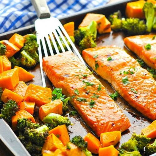 Sheet Pan Salmon with Sweet Potato