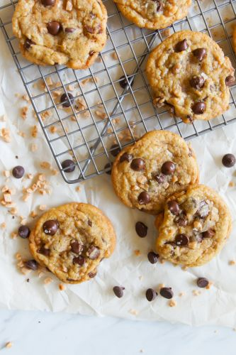 Brown Butter and Toffee Chocolate Chip Cookies