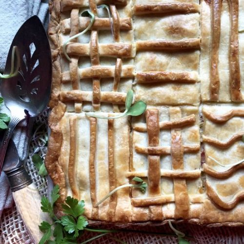 Ham & cheese slab pie
