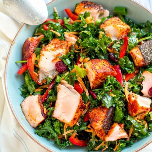 Superfood Cajun Salmon & Kale Salad