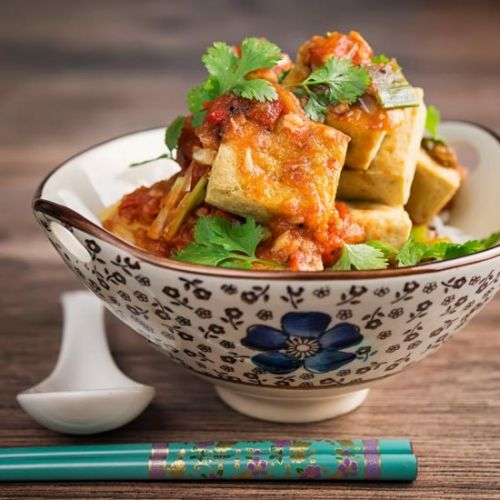 Crispy Fried Tofu With Tomato Sauce