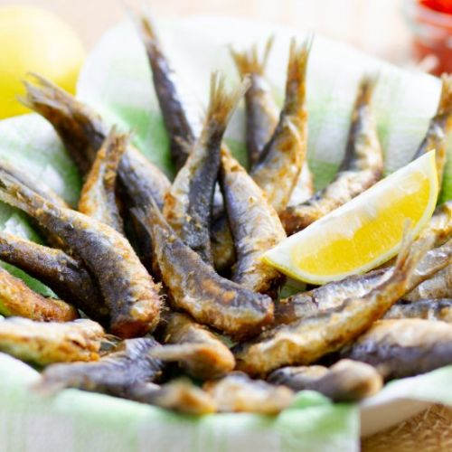 Deep-fried sardines