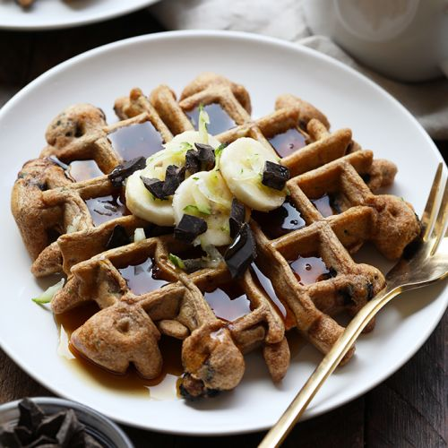 Whole Wheat Zucchini Chocolate Chunk Waffles