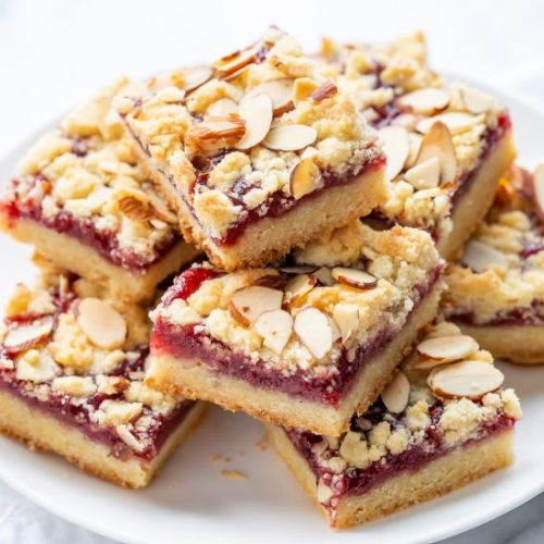 Raspberry Bars with almonds