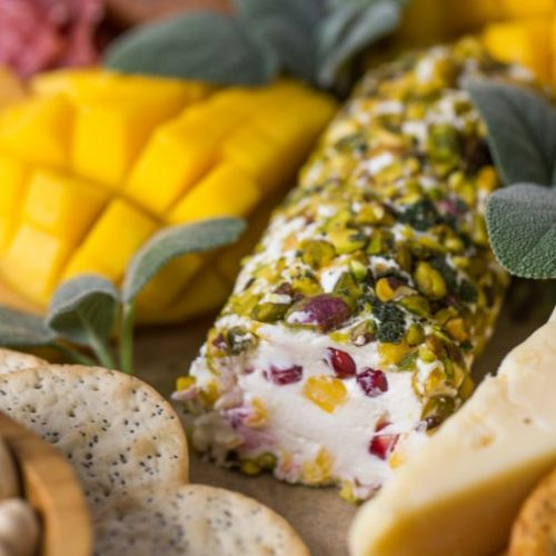 Pistachio Crusted Mango Cheese Log