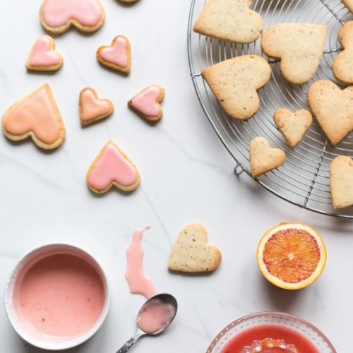Heart-shaped citrus cookies