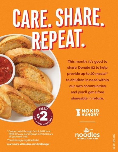 Noodles & Company To Address Childhood Hunger And Match Fundraiser Donations