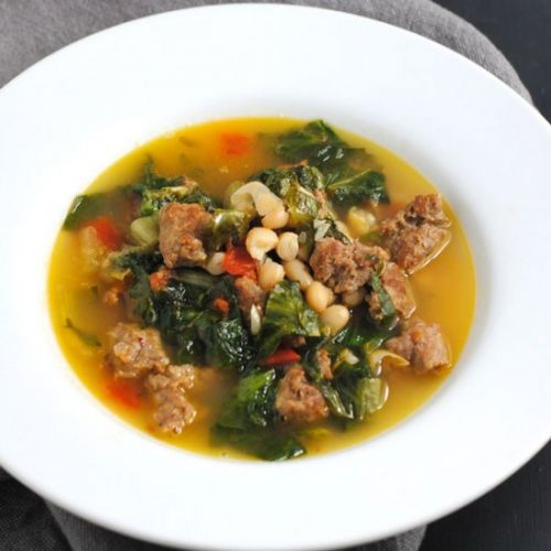Escarole soup with sausage & beans