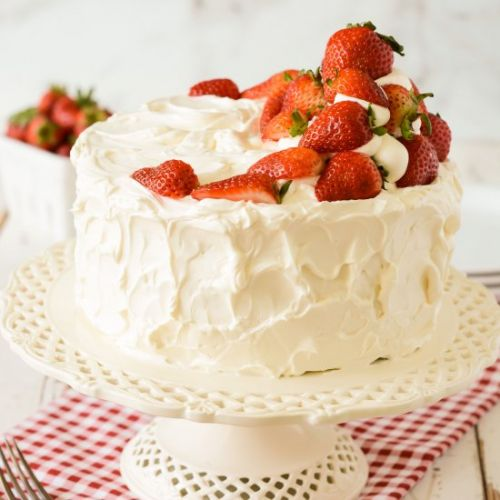 White Cake with Strawberry Filling