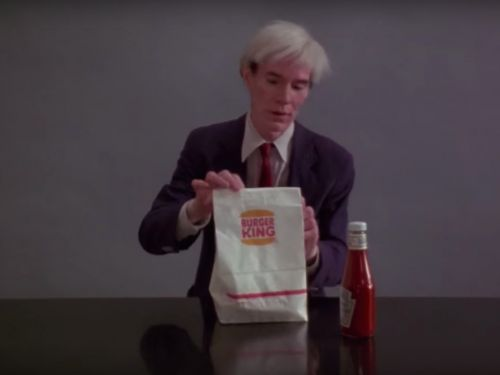 Andy Warhol Eats a Whopper in Burger King's Super Bowl Commercial