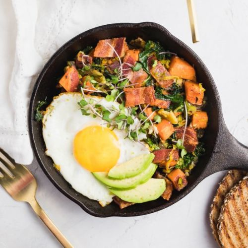 Sweet Potato Bacon Kale Hash