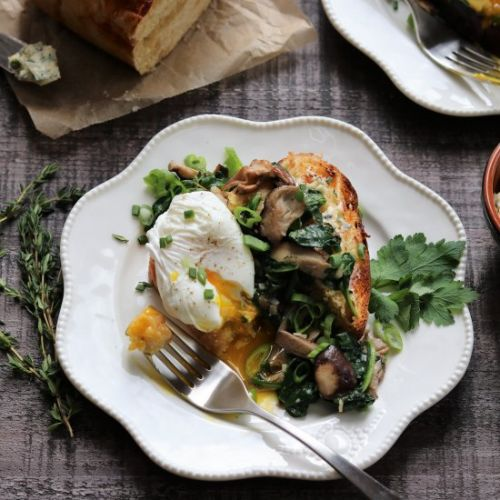 Poached Eggs & Mushrooms on Brioche