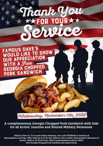 Famous Dave's Announces System-wide Veterans Day Promotion