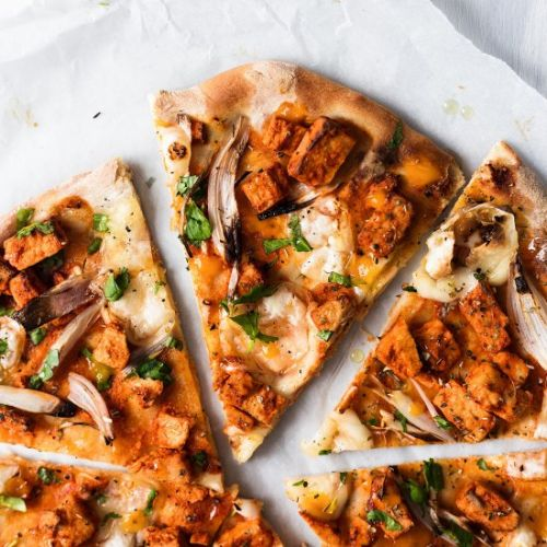 Vegan Cheey Buffalo 'Chicken' Pizza