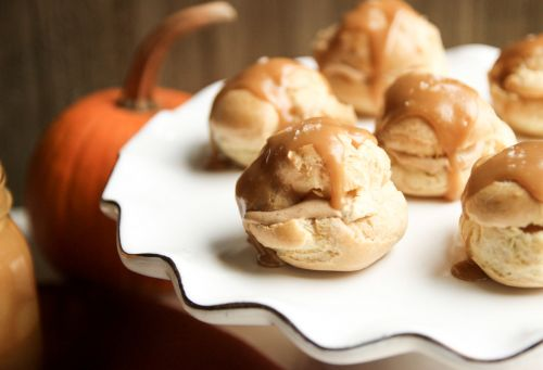 Pumpkin Cream Puffs with Maple Caramel Glaze