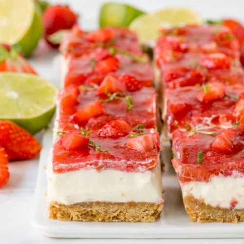 Strawberry & Rhubarb Cheesecake Bar