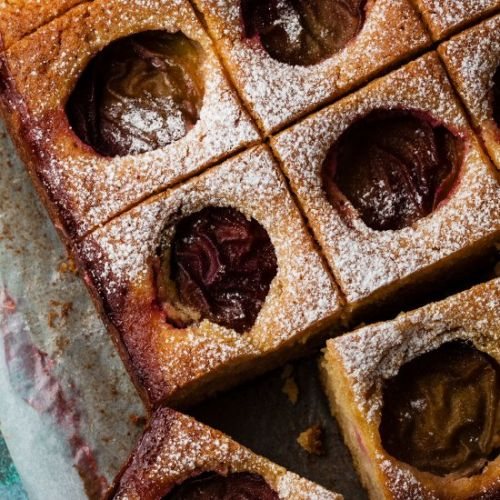 Plum and Almond Traybake