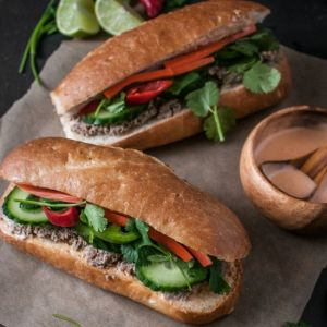 Bánh Mì with Duck Pâté & Sriracha