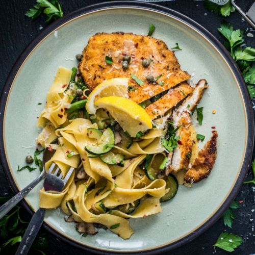 Chicken Piccata with Pappardelle
